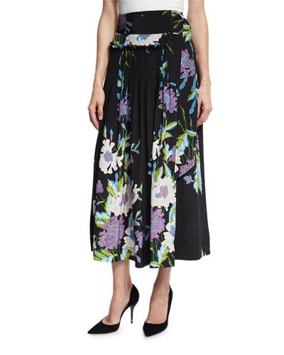 Floral-Print D-Ring Silk Midi Skirt, Multicolor