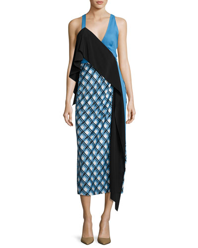 Asymmetric Ruffle Midi Dress, Blue