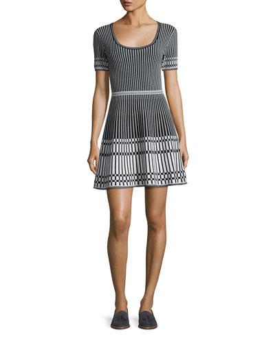 Short-Sleeve Knit Fit & Flare Dress, Black/White