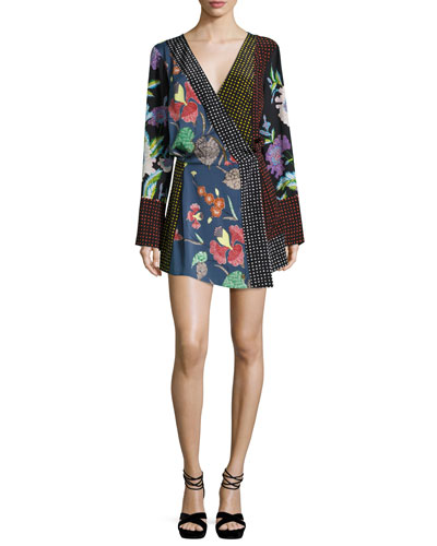 Floral & Dot Print Silk Jersey Dress, Multicolor