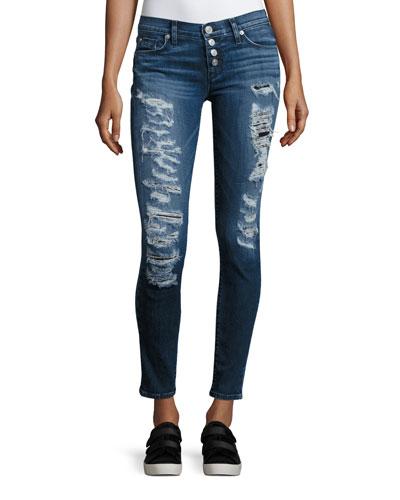 Ciara Distressed Super Skinny Jeans, Bombard Blue