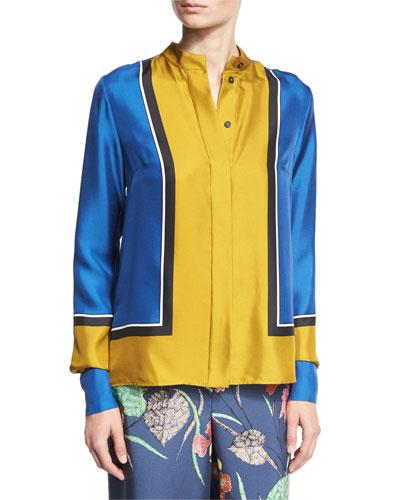 Colorblock Silk Satin Shirt, Blue/Yellow