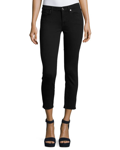Kimmie Cropped Straight-Leg Jeans, B(Air) Black