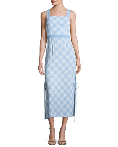 Sleeveless Tie-Side Printed Midi Dress, Blue