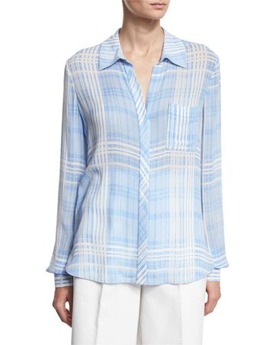Carter Plaid Long-Sleeve Shirt, Blue