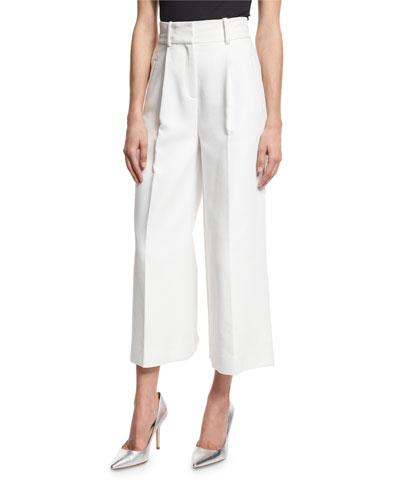 High-Waist Single-Pleat Culottes, White