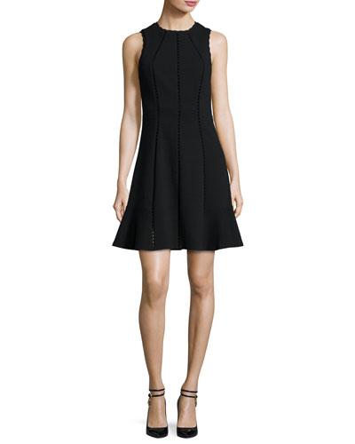 Diamond-Textured Sleeveless Fit & Flare Dress, Black