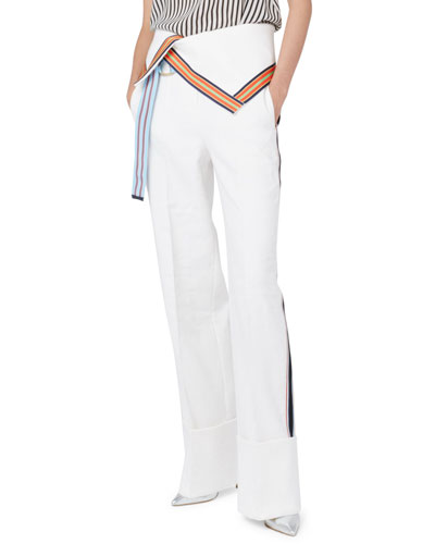 Ribbon-Stripe Wide-Leg Fold-Over Pants, White