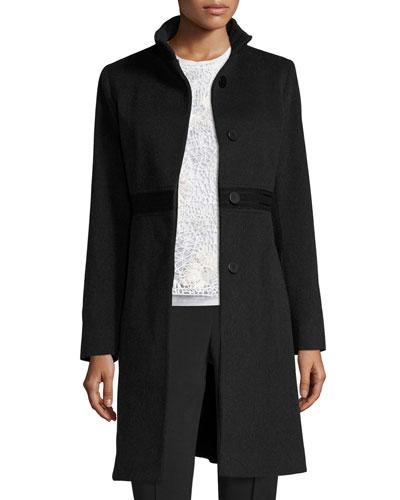Wool Lace-Trim Coat, Oxford