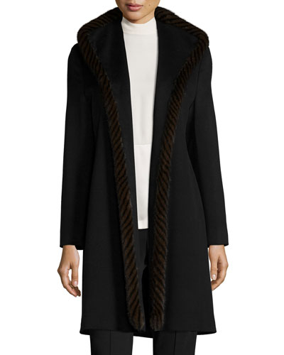 Wool Open-Front Coat w/ Mink Fur, Black