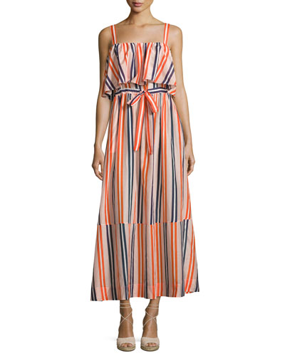 Colorblock Popover Prairie Dress, Orange/Blue