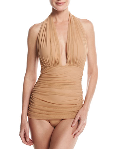 Bill Ruched-Mesh Halter Maillot Swimsuit, Camel