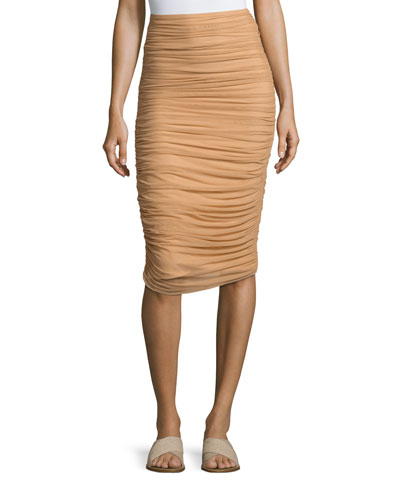 Shirred Knee-Length Swim Skirt, Camel