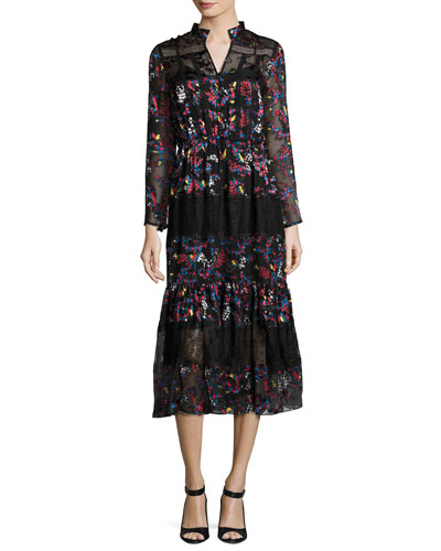 Alyssa Floral-Print Midi Dress, Blue Multicolor