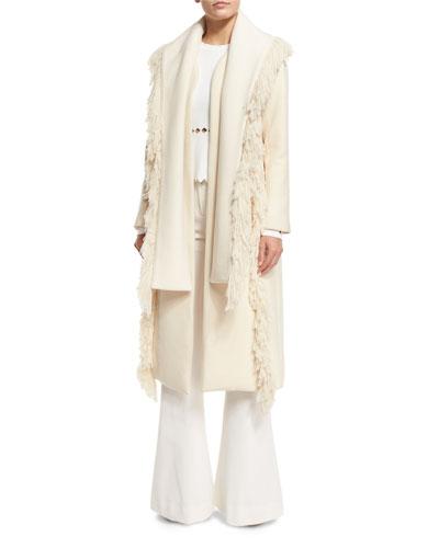Fringe-Trim Wool-Blend Coat, Ivory
