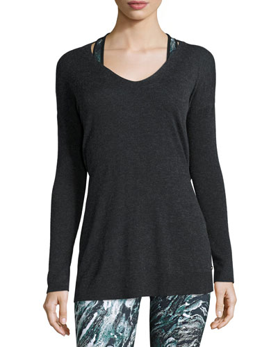 Shavasana Reversible Sweater, Heather Jet