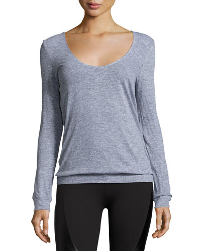 Back-Drape Pullover, Medium Gray