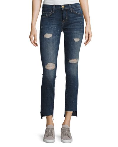 Uneven Cut Distressed Skinny Jeans, Medium Blue