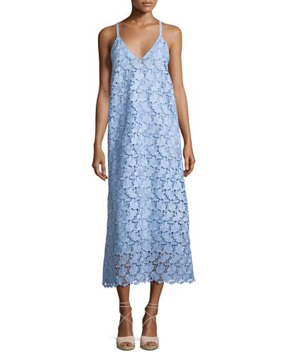 Sleeveless Guipure Lace Midi Dress, Blue