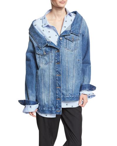 Long Denim Jacket, Blue