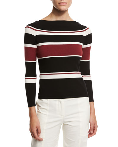 Audrey Striped Sweater, Black
