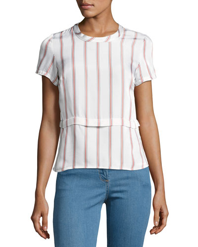 Short-Sleeve Striped Poplin Tee, White