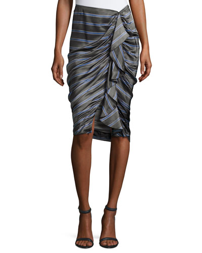 Drew Striped Cascade Ruffle Pencil Skirt, Black/Blue