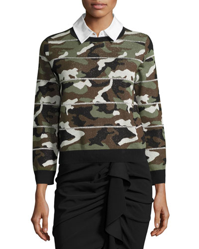 Alpha Striped Metallic Camo Jacquard Sweater, Green