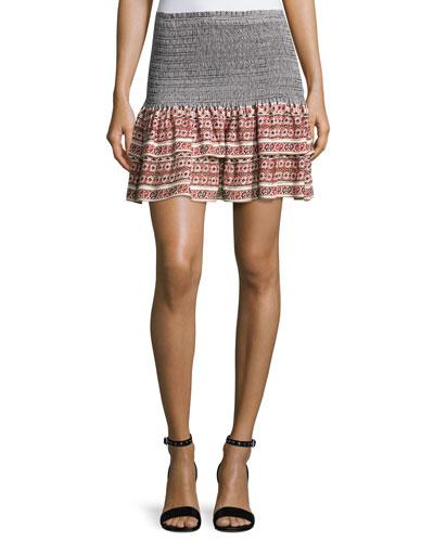 Moore Silk Paisley Flounce Skirt, Dark Orange/Black