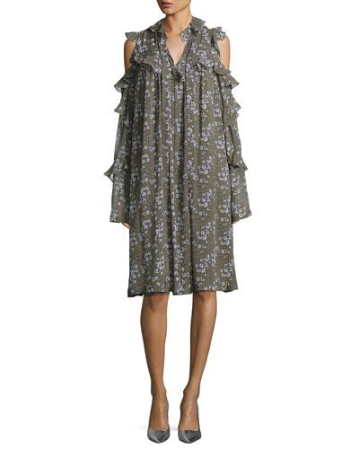 Floral-Print Cold-Shoulder Silk Ruffle Dress, Olive/Blue