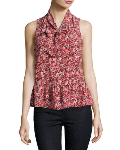 Estero Floral Silk Sleeveless Tie-Neck Blouse, Coral