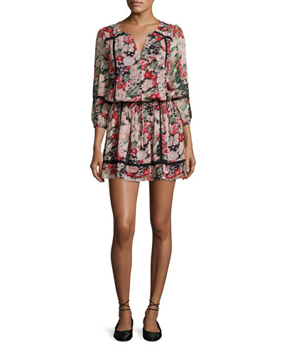 Eldora Floral-Print Silk 3/4-Sleeve Blouson Dress, Black
