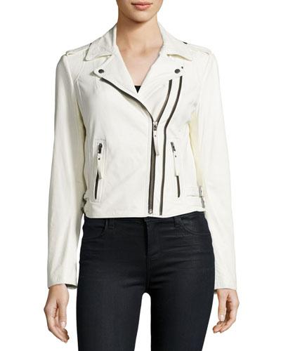 Hayworth Leather Moto Jacket, White