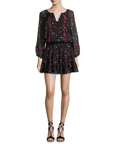 Grover Floral-Print Silk Blouson Mini Dress, Black