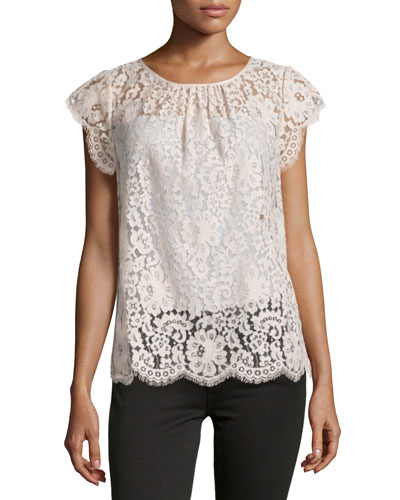 Channelle Bow-Back Lace Top, Blush