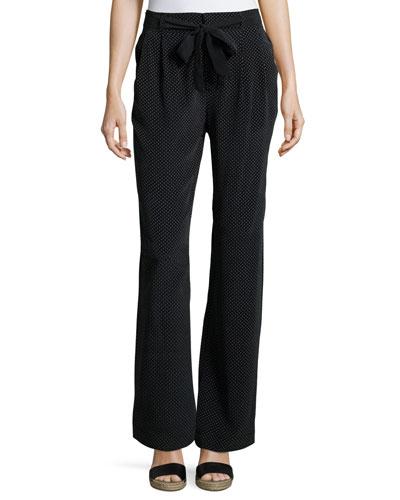 Gaynell Dot-Print Silk Paperbag Flare-Leg Pants, Black