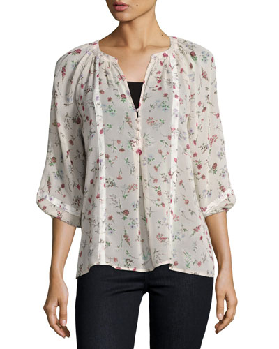 Gloria B Floral Silk Blouse, Pink/White