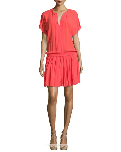 Bryton Smocked-Waist Blouson Dress, Coral