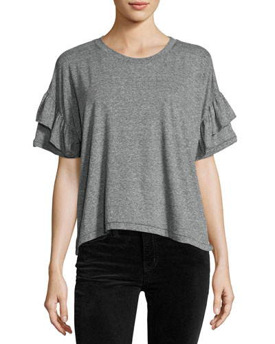 The Ruffle Roadie Tee, Heather Gray