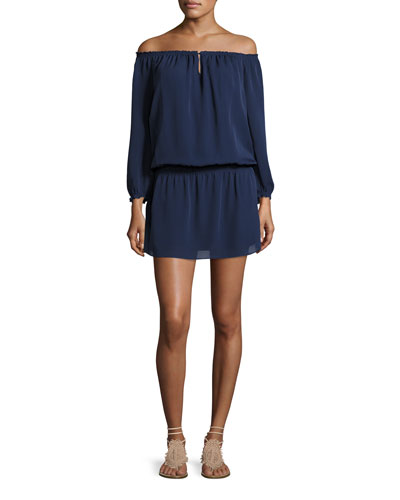 Kay Off-the-Shoulder Silk Blouson Dress, Blue