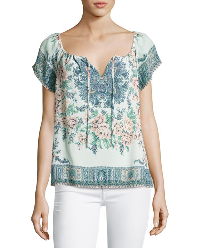 Taj Floral-Print Short-Sleeve Top, Blue/Orange