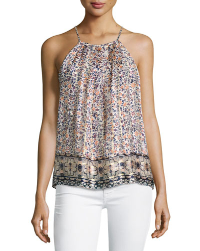 Amarey Floral-Print Silk Tank Top, Orange