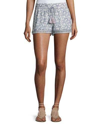 Zaha Floral-Print Drawstring Shorts, White/Blue