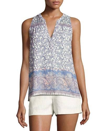 Jeralda Sleeveless Paisley-Print Silk Shirt