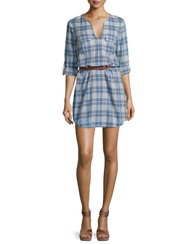 Rathana C Plaid Belted Shirtdress, Blue
