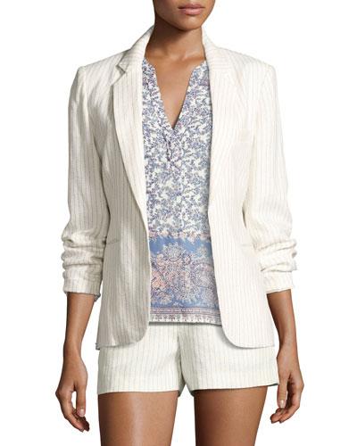 Mehira Pinstripe Blazer, White