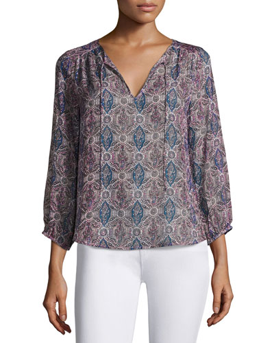 Odelette Split-Neck Printed Silk Top, Multipattern.