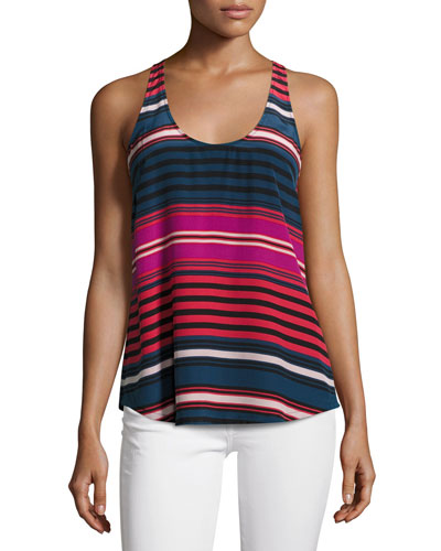 Drew C Striped Silk Tank Top, Blue/Red/Pink