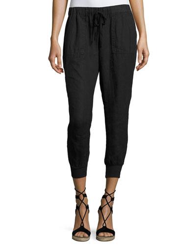 Cynthia Linen Jogger Pants, Black