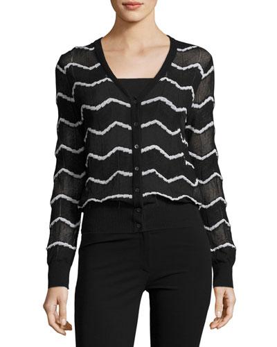 Zigzag Cropped Cardigan, Multi